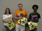 First place winners: Heather Crawford 14K (left), Steve Barberi 1K (center), Tony Vick 6K (right)